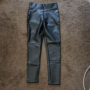 Pants - Black Faux Leather pants with pockets